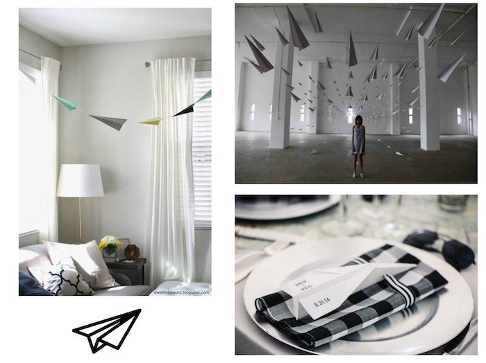 ein schwarzer fliegender papierflieger, schlafzimmer mit einem bett mit weißen kissen und einer weißen lampe, eine junge frau in einem zimmer mit vielen grauen großen papierfliegern