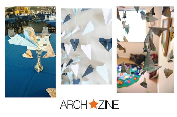 drei bilder mit diy papierfliegern, ein blauer tisch mit deko mit vase mit einem papierflieger aus einer weltkarte, kleine und große weiße und blaue papierflieger