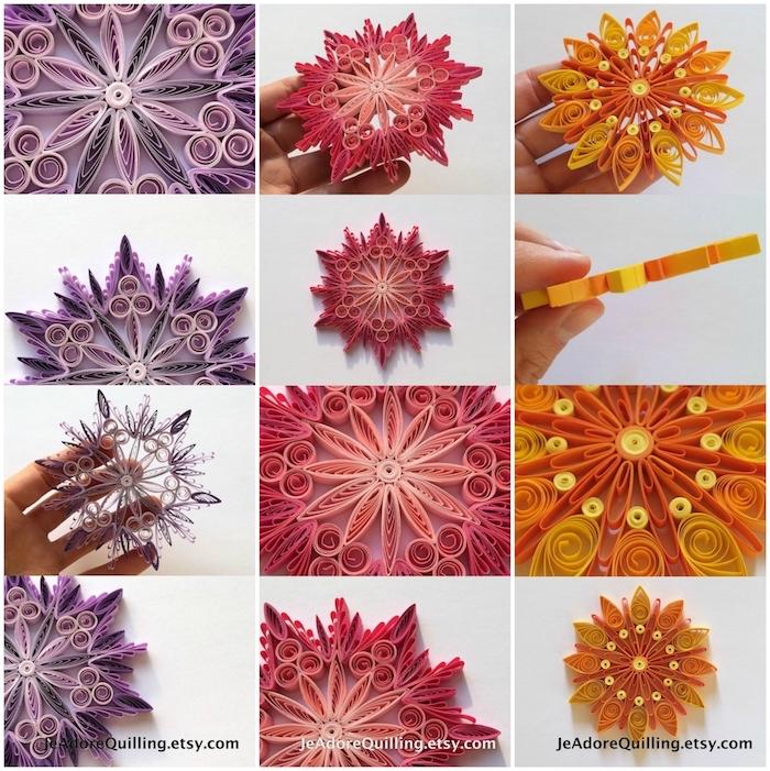 eine diy quilling anleitung für einen violetten weihnachtsstern aus papierstreifen, bastelideen für erwachsene, ein oranger und ein pinker weihnachtsstern