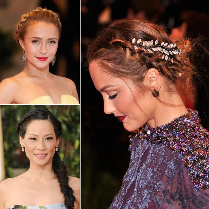 drei Prominente, geflochtene Zöpfe, Beispiele für Frisur zur Hochzeit