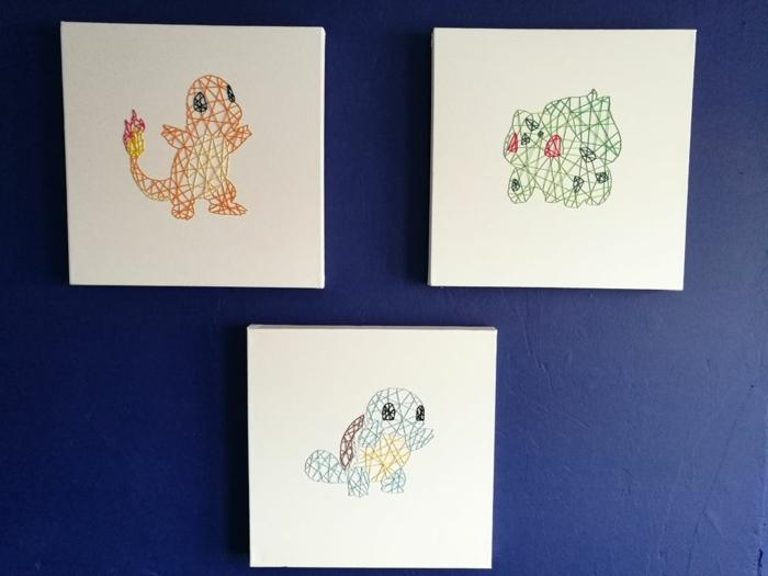 drei Projekt für Pokemons, String Art Vorlage für Charmander, Squirtl und Bulbazor,