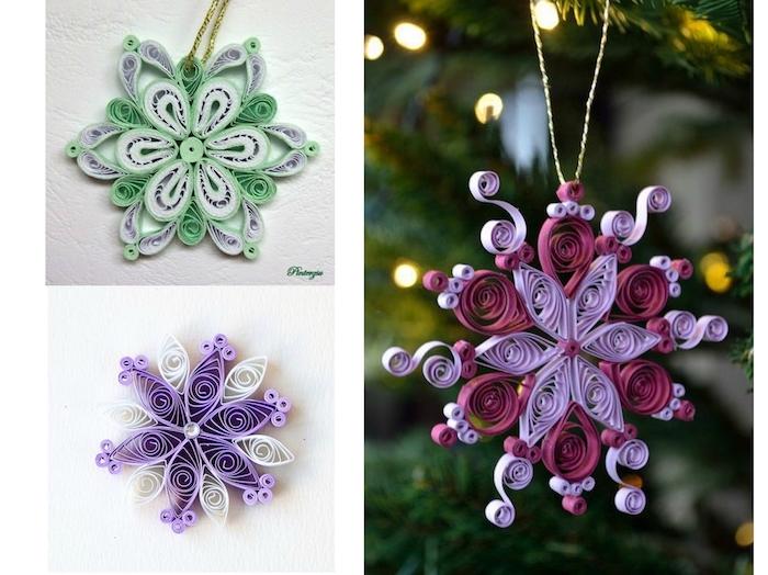 weihnachtsdekoration mit kleinen quilling weihnachtssternen aus violetten und grünen langen papierstreifen, weihnachtsdeko basteln mit kindern, quilling paper