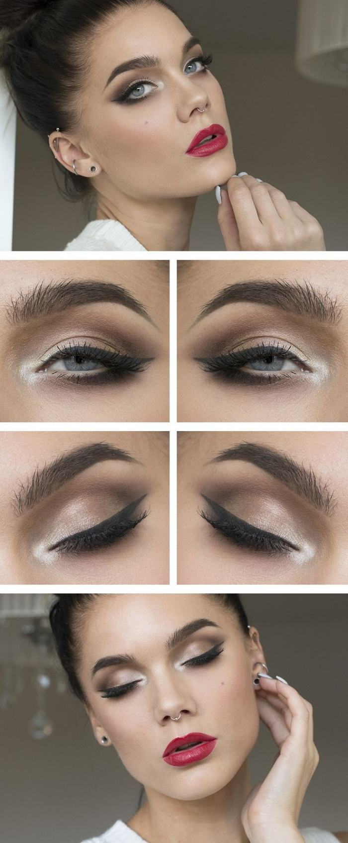 augen make up und lippenstift auftragen, anleitung, tipps. bilder ideen und inspiration,
