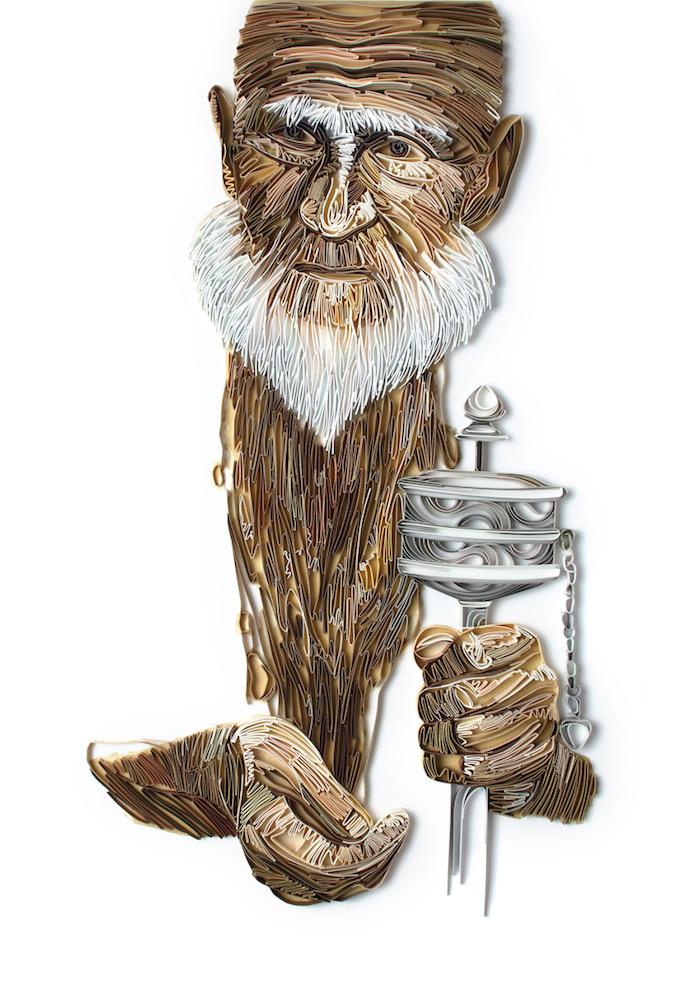 ein quilling bild mit einem alten mann mit einem weißen bart, basteln mit papierstreifen, alter mann aus weißen und braunen papierstreifen