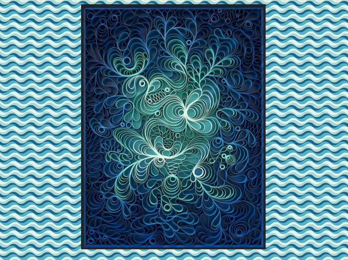basteln mit papierstreifen, ein bild mit vielen kleinen blauen quilling figuren mit langen blauen papierstreifen, eine quilling anleitung
