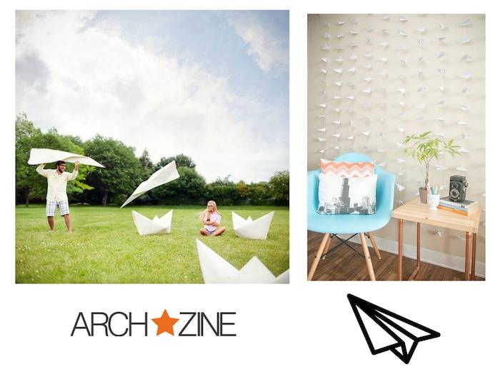 blauer stuhl und eine weiße wand, deko mit vielen kleinen weißen papierfliegern, ein blauer himmel mit weißen wolken, ein liebespaar und ein walld mit grünen bäumen, papierflieger spiele