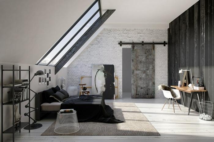 ein graues Schlafzimmer im Dachgeschoss Wohnung, graue Wand, Bachstein Optik Wand
