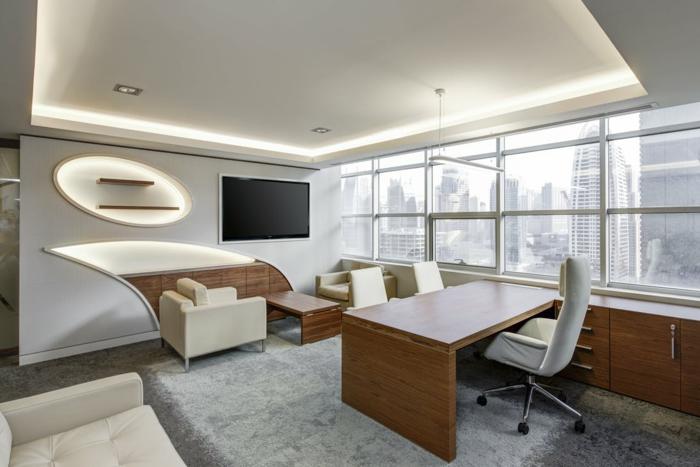 moderne Wohnwand, ein Fernseher, Led-Beleuchtung, geometrische Dekoration, selber bauen Ideen