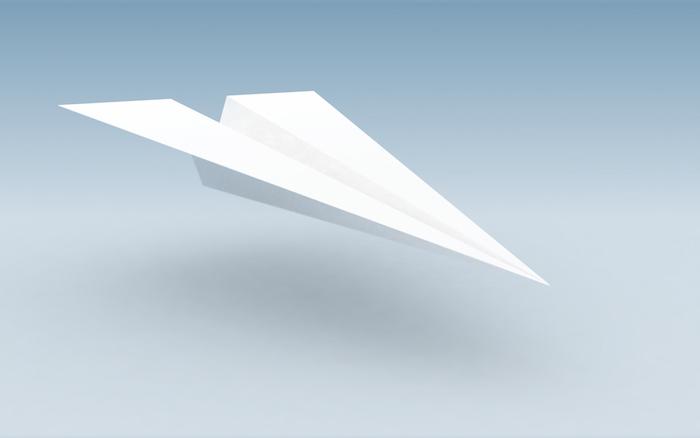bastln mit papier, ein weißer kleiner fliegender papierflieger, einen kleinen papierflieger basteln