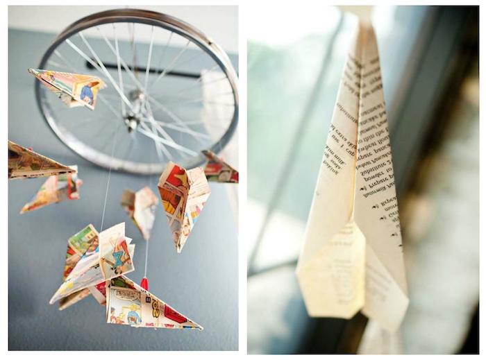 ein baby-mobile aus metall und mit kleinen bunten papoerfliegern, ein kleiner papierfleger aus iner alten zeitung