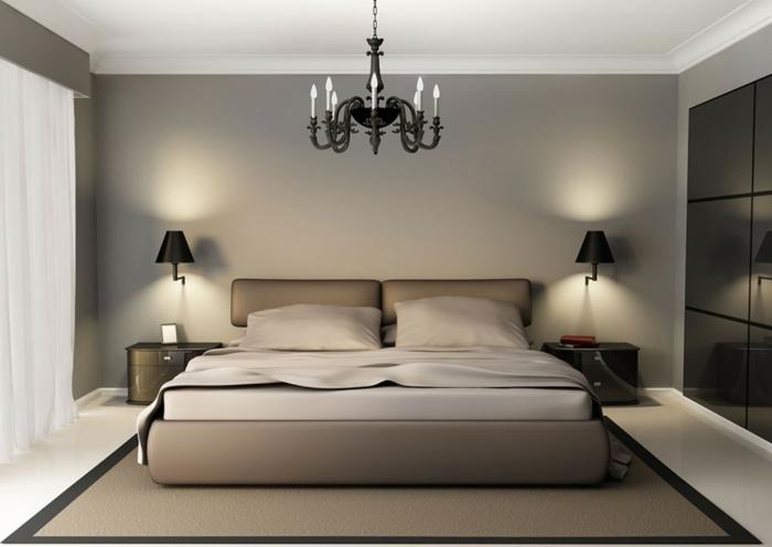 minimalistische Schlafzimmer Inspiration, Untegestell in beiger Farbe, zwei Nachtlampen