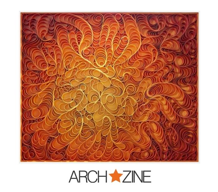 ein quilling bild mit vielen langen orangen, roten und felben papierstreifen, bastelideen mit papier