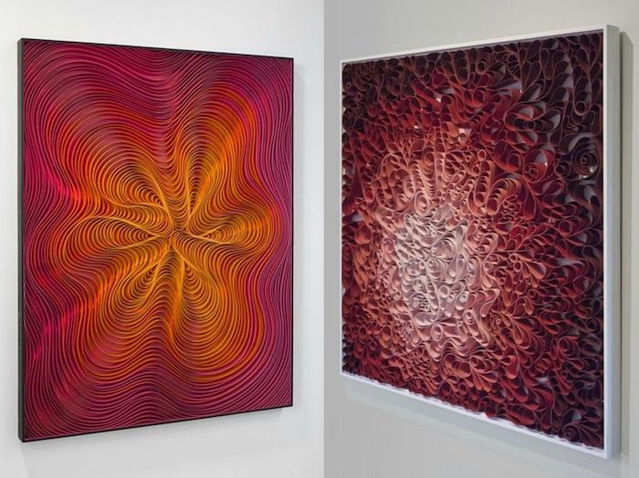 zwei quilling bilder mit langen roten, orangen, gelben und braunen papierstreifen