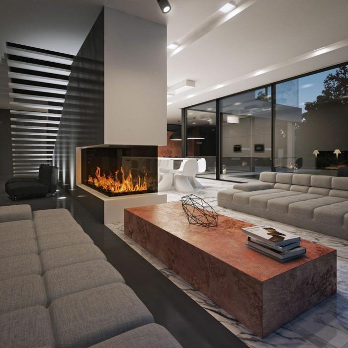 eine moderne Wohnung, einzigartige Raumteiler Ideen, eine massive Wand mit eingebautem Kamin