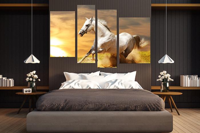 ein leinwandbild aus vier teilen und mit einem großen weißen Pferd