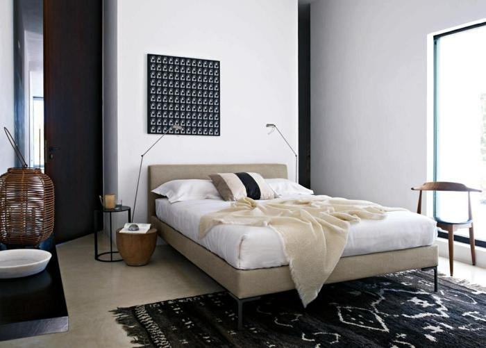 ein schwarzer Teppich, schwarzes Bild wie eine Netz, Schlafzimmer Inspiration für moderne Gestaltung