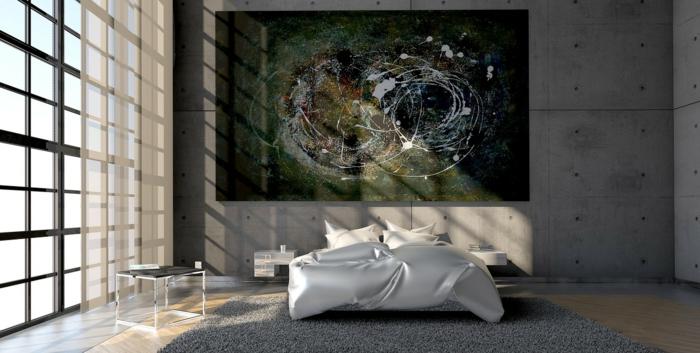 ein abstraktes Bild verschönert ein unban Schlafzimmer, Inspiration für modernes Design