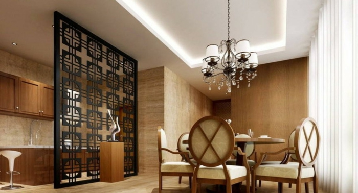 Trennwand für Zimmer zwischen die moderne Küche und das Esszimmer in Barock Stil