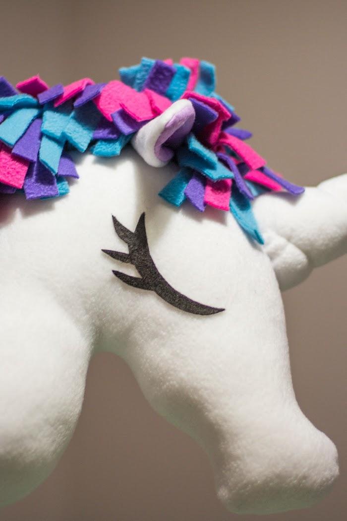 ein pferd basteln, ein großes weißes einhorn mit schwarzen augen und mit einer dichten mähne und ohren und einem weißen einhorn, bastelideen für kinde einhorn basteln mit einem weißen horn