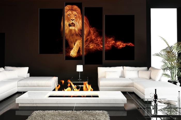 ein vier teiliges bild mit einem großen löwe und ein schlafzimmer