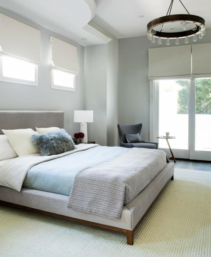 schlaue Schlafzimmer einrichten Beispiele, moderne Lampenschirm und eine Leseecke