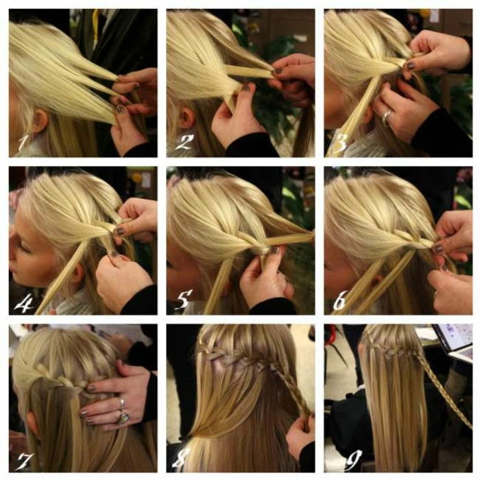 neun Schritte für geflochentene Zöpfe, blondes Haar, Wasserfall Zopf