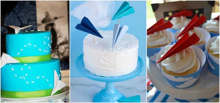kleine kuchen mit einer weißen sahne und roten papierfliegern, eine blaue zweistöckige torte mit drei weißen papierfliegern, eine weiße torte mit drei blauen kleinen papierfliegern