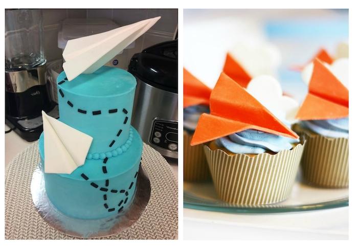 kleine kuchen mit blauer sahne mit orangen papierfliegern, eine blaue zweistöckige torte mit großen weißen papierfliegern