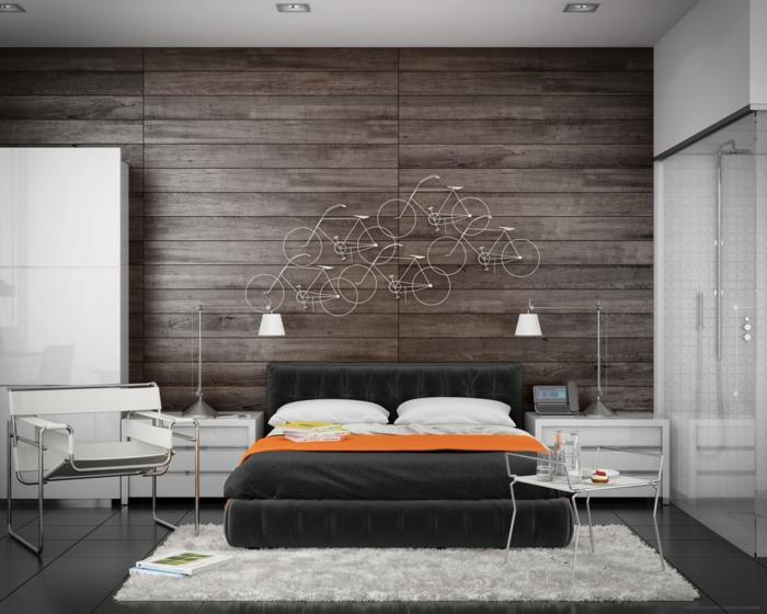 kreative Schlafzimmer Deko mit kleinen Fahrräden, weißer Stuhl, Wand in Naturholz Optik