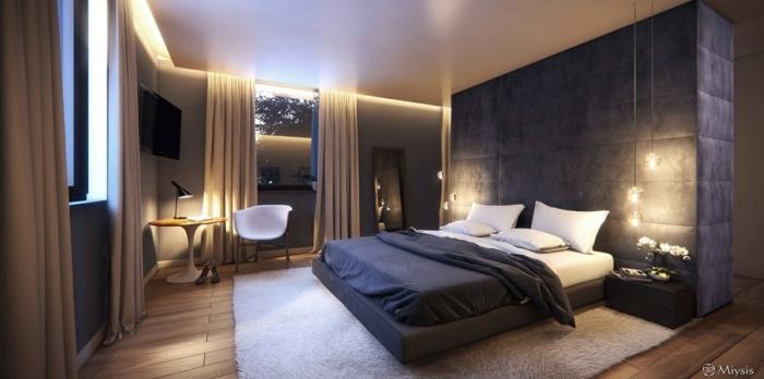 Schlafzimmer Deko mit Vorhänge und schönem Teppich, eine schöne Leseecke