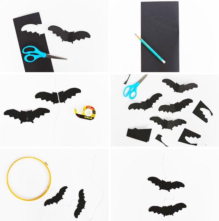 eine schritt für schirtt anleitung für ein baby-mobile mit kleinen schwarzen fledermäusen aus papier, eine kleine blaue schere, fledermaus mit schwarzen flügeln
