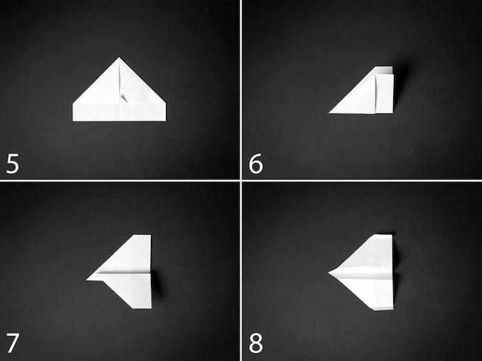 basteln mit papier, einen kleinen weißen papierflieger selber machen, eine diy papierflieger anleitung in vier schritten