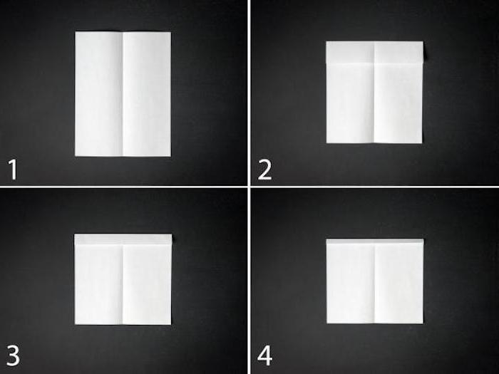 ein teil einer schritt für schritt anleitung papierflieger, einen kleinen weißen papierflieger falten a4