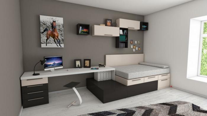 Schreibtisch, Bett, Regale, Pferdebild, Wohnwand selber bauen und alles einbauen