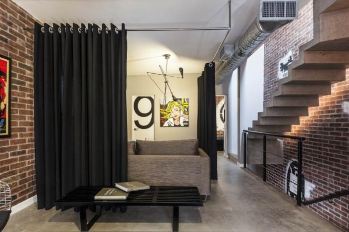 ein Vorhang als Raumtrenner Ideen, eine kleine, aber moderne Wohnung