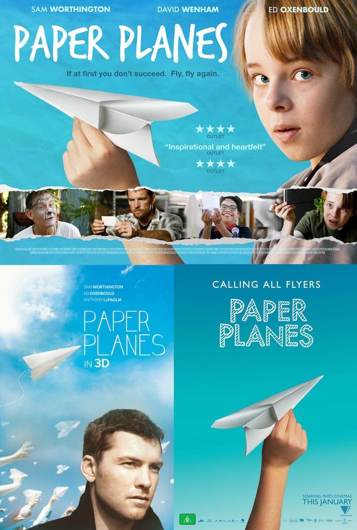 ein mann, blauer himmel mit weißen wolken und viele fliegende papierflieger, einen papierflieger selber machen