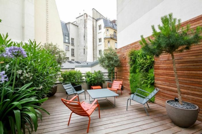 blaue und rote Stühle, vertikale Terrassenbepflanzung, zwei Bäume, lila Blumen