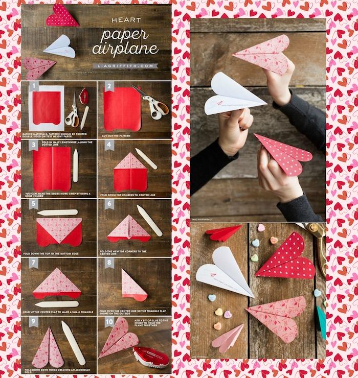 ein tisch aus holz, drei hände mit großen weißen, pinken und roten herzähnlichen papierfliegern, ene diy papierflieger anleitung in zehn schritten