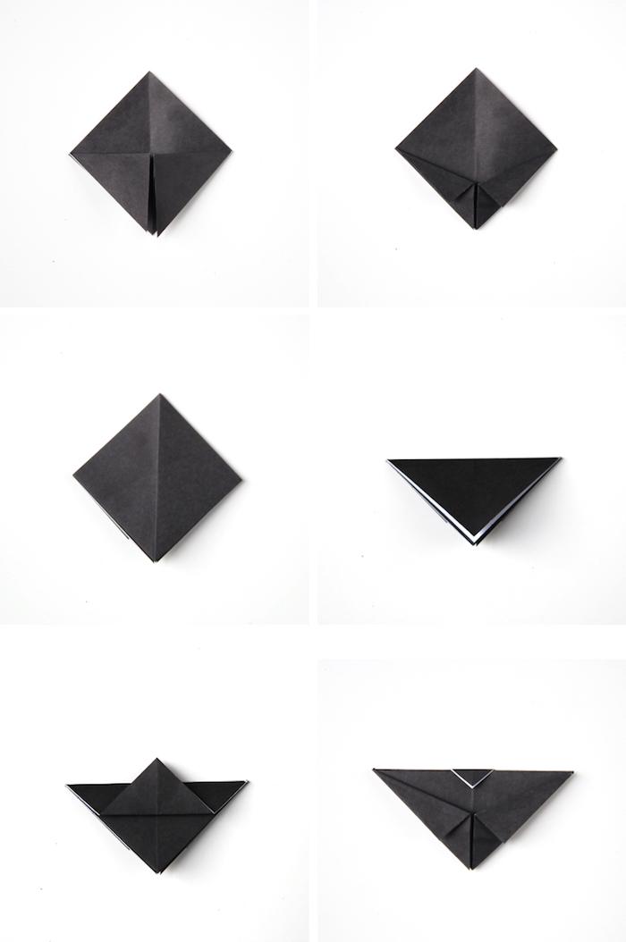 eine schritt für schritt diy anleitung in einigen schritten, eine schwarze origami fledermaus falten aus papier
