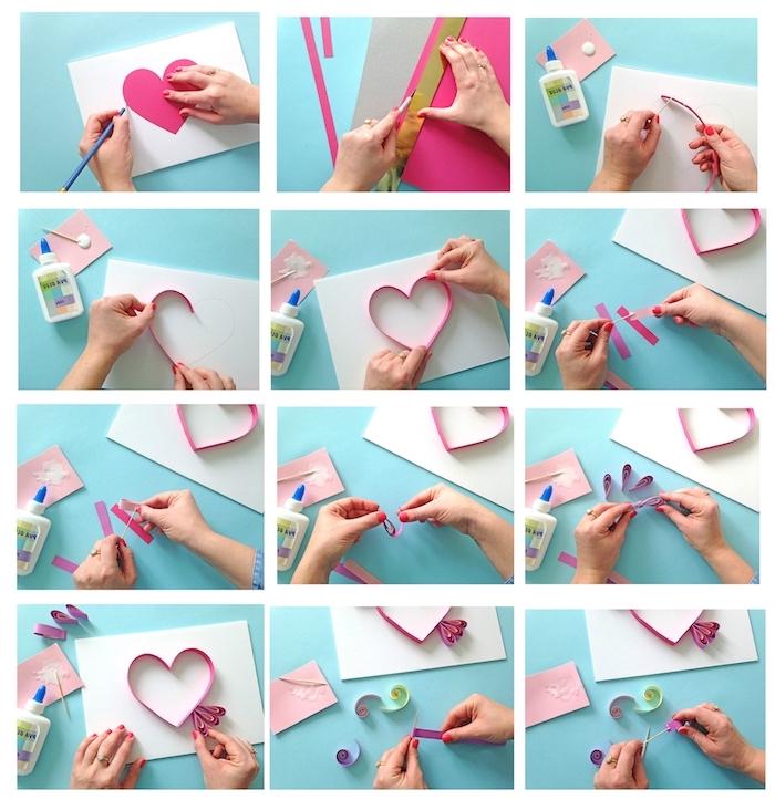 lineal, kleber, hände und ein pinkes quilling herz mit papierstreifen, eine schritt für schritt quilling anleitung
