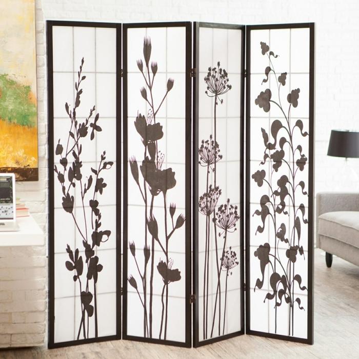 mobile Raumteiler Ideen, eine Wand aus zwei Teilen, jedes mit Feldblume versehen