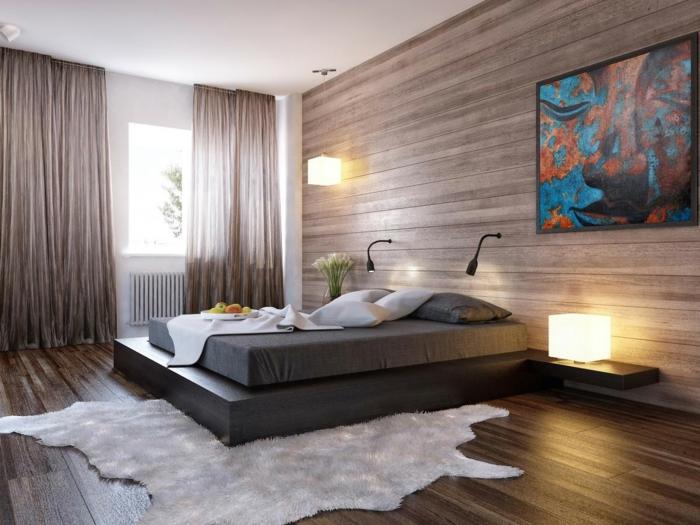 abstraktes Bild als Schlafzimmer Deko, graue Matratze mit grauer Unterstelle, lila Vorhänge