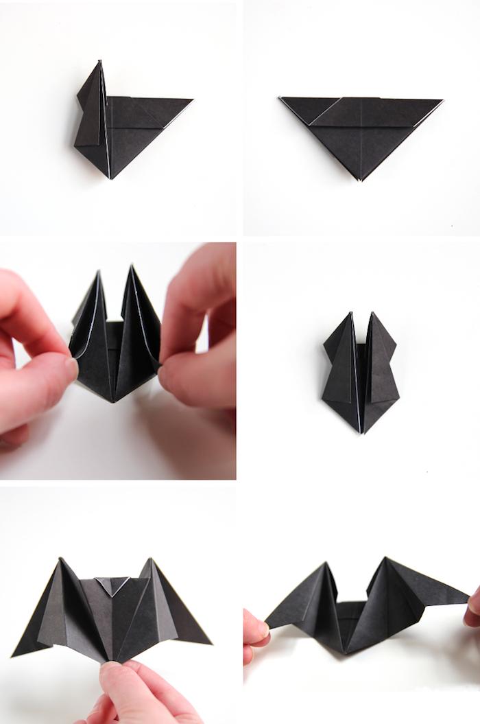 zwei hände und eine schritt für schritt diy anleitung, eine kleine schwarze origami fledermaus aus papier flaten