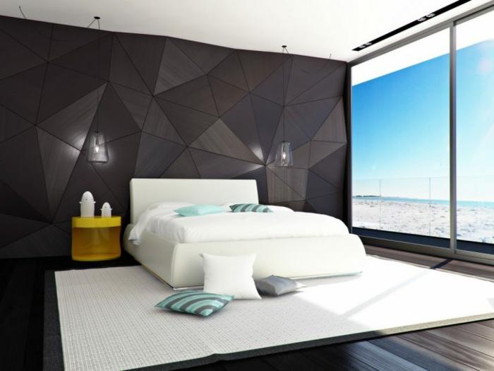 ein Haus am Strand, Bett mit weißer Bettwäsche, mit ausgefallener Wand Schlafzimmer dekorieren
