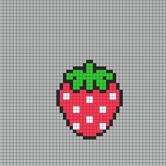 auf diese Vorlage können Sie zählen, wie viel Steckperlen Sie für eine Erdbeerefigur brauchen