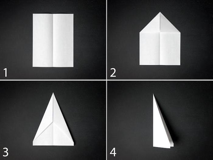 eine diy anleitung papierflieger in vier schritten, einen weißen kleinen papierflieger selber bauen, bastelideen mit papier