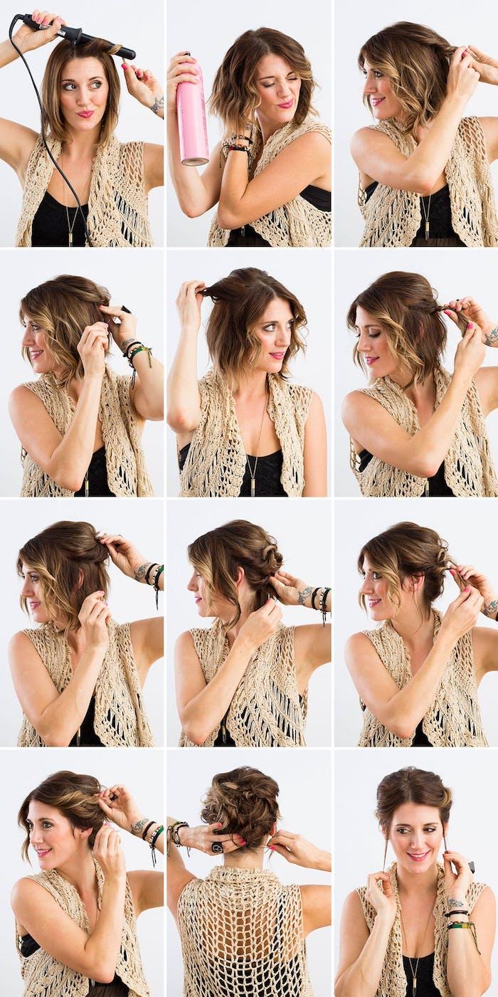 einfache hochsteckfrisuren für schulterlange haare, haare hochstecken, frisur