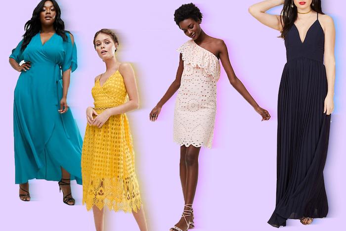 vier bunte festliche kleider zur hochzeit hochzeitsfeier klamotten outfit ideen bequem gelb blau schwarz weiß