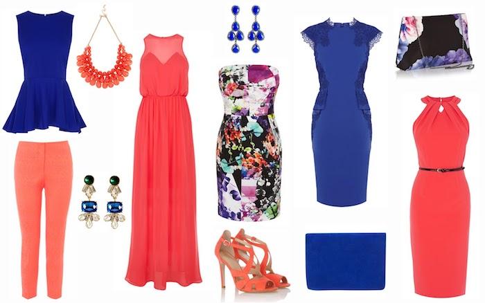 kleidung für den schönen hochzeitsgast kleid rot oder blau outfit aus zwei teilen schmuck tasche