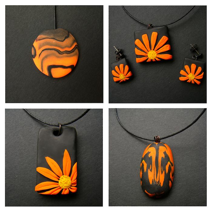 vier bilder mit ketten mit kleinen schwarzen fimo figuren mit orangen blumen, fimo ideen für anfänger